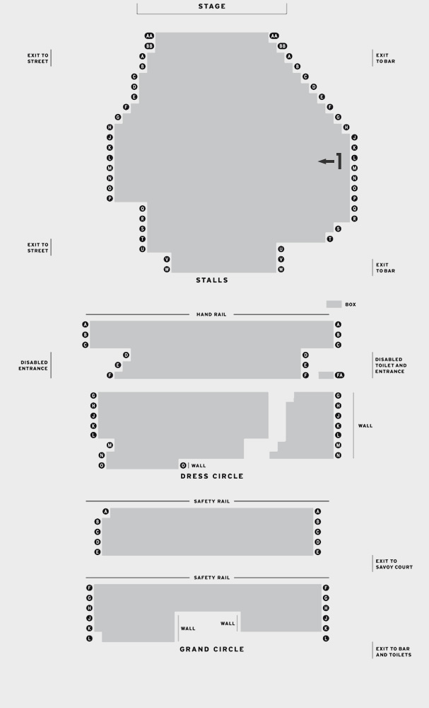 Savoy Theatre Our House seating plan
