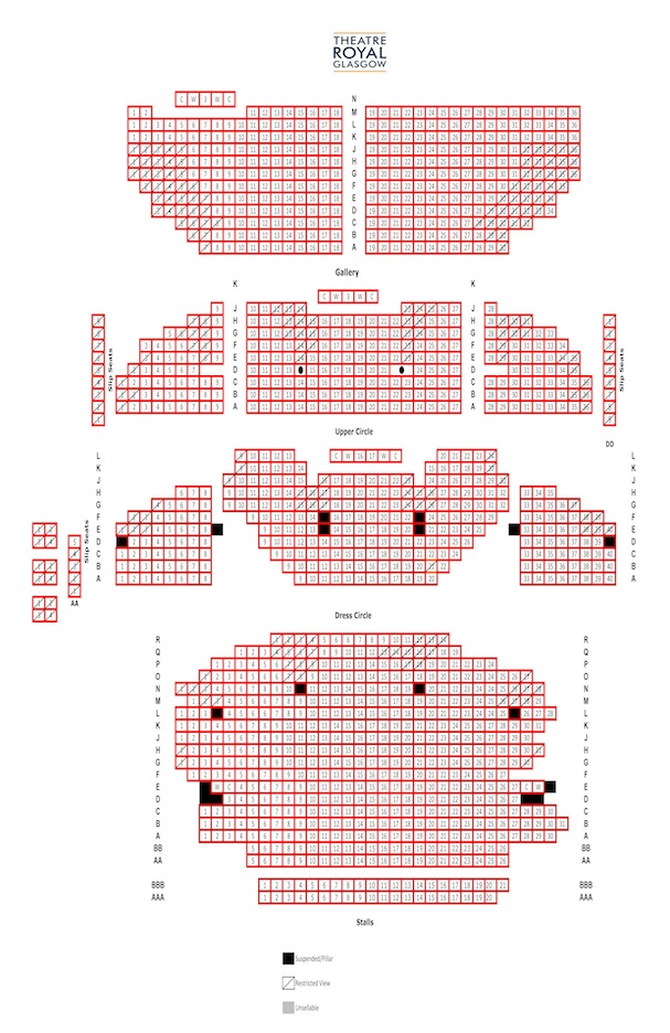 Theatre Royal Glasgow Blue/Orange seating plan
