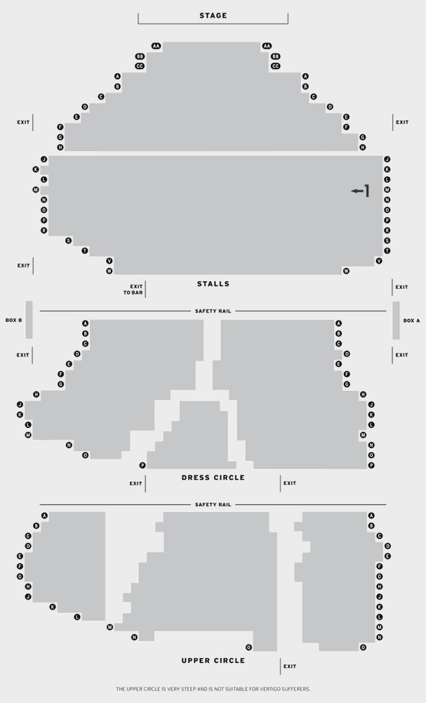 New Wimbledon Theatre Evita seating plan