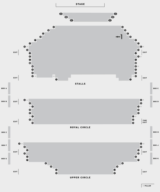 New Victoria Theatre, Woking Love Letters seating plan
