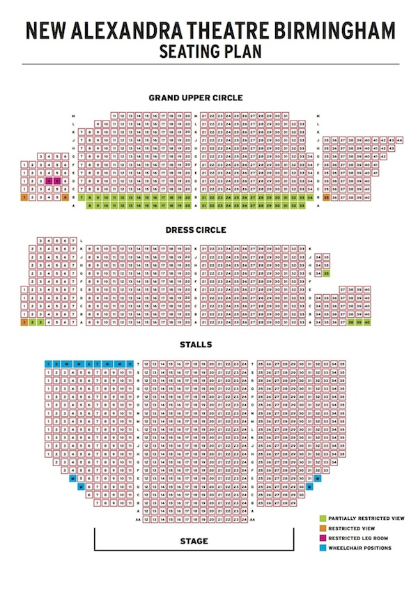 New Alexandra Theatre Birmingham Rent 20th Anniversary Concert seating plan