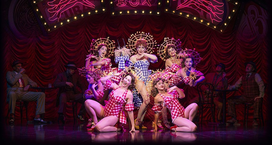 Sophie Thompson and the company performing in 'Guys and Dolls' at the Savoy.