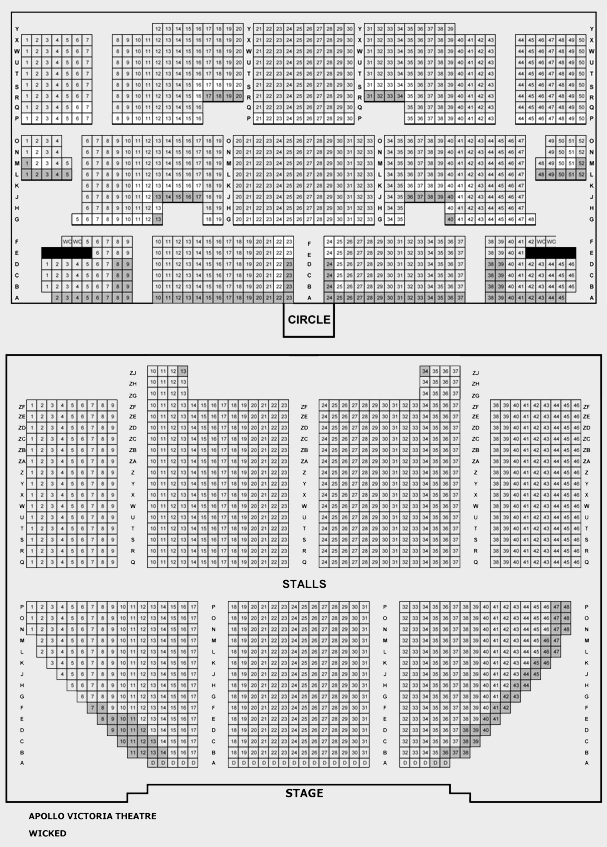 Apollo Victoria Theatre Wicked seating plan