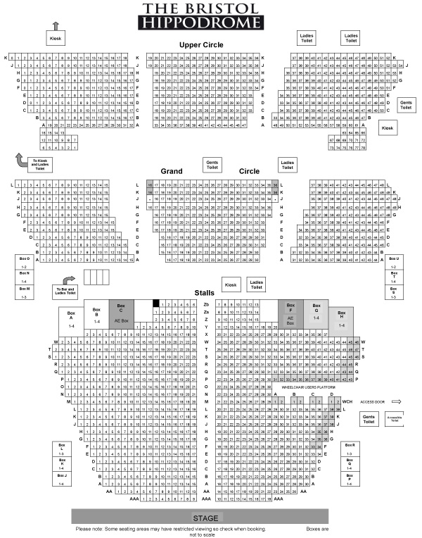 Bristol Hippodrome Theatre Awful Auntie seating plan