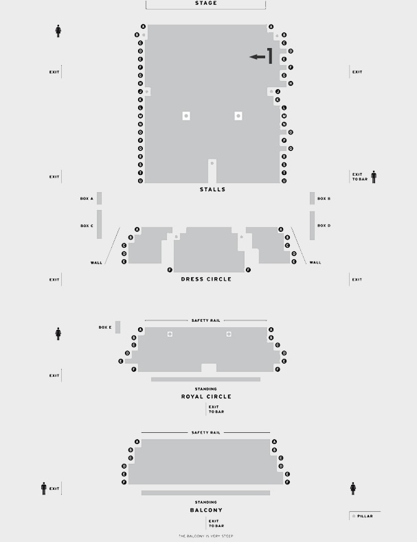 Harold Pinter Theatre Relative Values seating plan