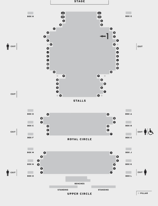 Duke of York's The Judas Kiss seating plan
