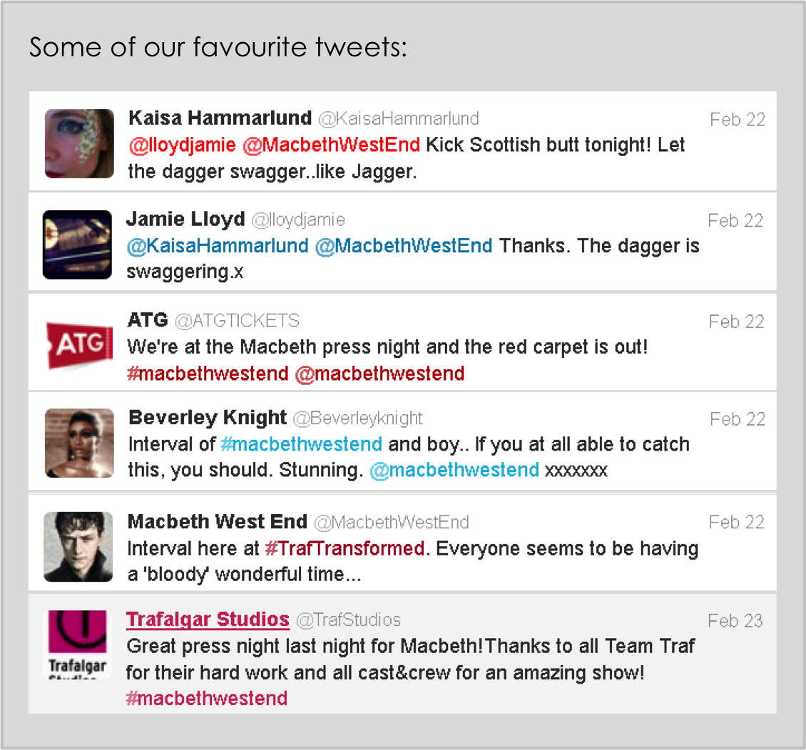 Favourite tweets from Macbeth Press Night